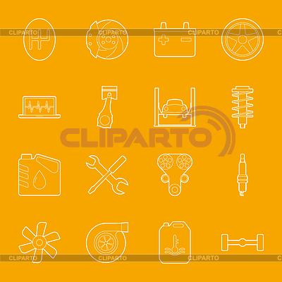 Serwis samochodowy zestaw ikon cienkie linie | Klipart wektorowy |ID 4796516