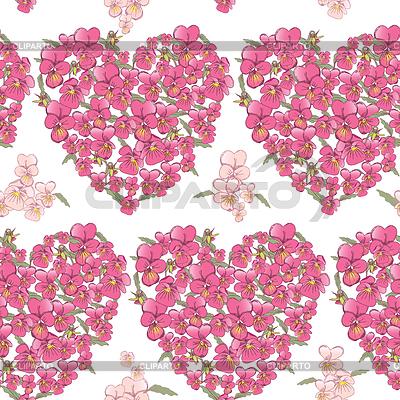 Pink heart of pansies. Seamless background | Foto stockowe wysokiej rozdzielczości |ID 4785574