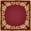 Vector clipart: Luxury gold pattern frame on claret background.