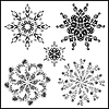 Vector clipart: Set of five mandalas. black