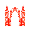 Vector clipart: Red vintage arch applique . Cut. Wel