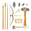 Vector clipart: Set tools of prehistoric man: bow and arrow,