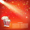 Vector clipart: Banner cinema with popcorn and spotlight on red