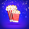 Vector clipart: Banner large and small popcorn on blue background.