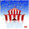 Vector clipart: Circus tent under rain of confetti. Welcome!