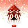 Vector clipart: Circus tent of confetti on red glass background.