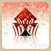 Vector clipart: Retro greeting card with circus and confetti.