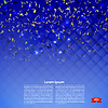 Vector clipart: Festive banner with confetti on blue background.