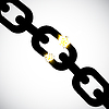 Vector clipart: Chain link with fragmentation. Damage, obstacle,