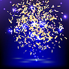 Vector clipart: Bright festive banner with confetti on blue