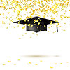 Vector clipart: Graduate cap and golden confetti. i