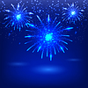 Vector clipart: Celebratory fireworks on blue background. Card.