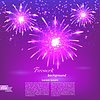 Vector clipart: Celebratory fireworks on purple background. Card.
