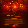Vector clipart: Starry fireworks on red background