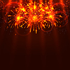 Vector clipart: Bright colorful fireworks and rays on red