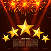 Vector clipart: Bright colorful fireworks, rays and stars on red
