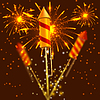 Vector clipart: Bright festival crackers on fireworks background.