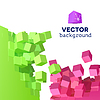 Vector clipart: 3D explosion background with cubical particles