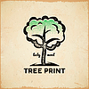 Vector clipart: Vintage card with tree on old scratched paper