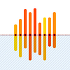 Vector clipart: Infographics with asymmetric orange overlapping bars