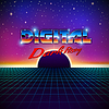 Vector clipart: Retro styled futuristic landscape with lettering an