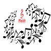 Vector clipart: Messy scattered music notes on stave