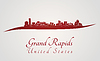Grand Rapids skyline in red