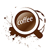 Vector clipart: logo and cup of coffee splashes