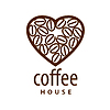 Vector clipart: logo coffee beans in shape of heart
