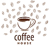 Vector clipart: logo cup and coffee beans
