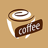 Vector clipart: logo cup of coffee and cream