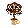 Vector clipart: logo cup of coffee and patterns