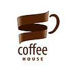 Vector clipart: logo cup of coffee in form of tape