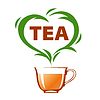 Vector clipart: logo cup of tea and green heart