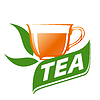 Vector clipart: logo cup of tea and green leaves