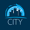 Vector clipart: logo evening city at sunset