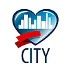 Vector clipart: logo in heart of white city