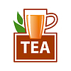 Vector clipart: logo mug of tea and green leaves