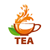Vector clipart: logo splashes in cup of tea