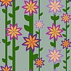 Vector clipart: flower pattern and vertical  lines