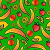 Vector clipart: Seamless pattern with colorful fruit
