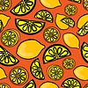 Vector clipart: Seamless pattern of yellow lemon