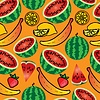 Vector clipart: Bright seamless wallpaper with fruits