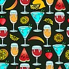 Vector clipart: Seamless pattern with lemon and cocktail on green