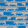 Vector clipart: seamless pattern with blue little cars