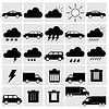 Vector clipart: black of transport and weather icons set on gray