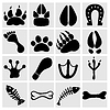 Vector clipart: People and pets footsteps