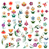Vector clipart: Set of vector colored flowers