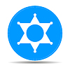 Vector clipart: Sheriff star. Flat web icon or sign on blue