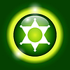 Vector clipart: Sheriff star. Flat web icon or sign on green